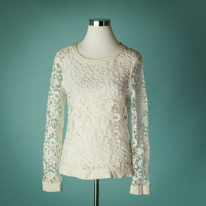 Chelsea28 S Ivory Embroidered Lace Pullover Top
